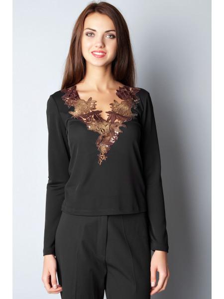 Блуза Abak  46 Черно-коричневая blz077/M_eu